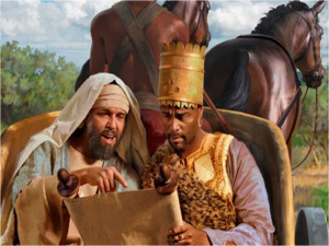 Phillip explains the Scriptures to the Ethiopian Eunuch.